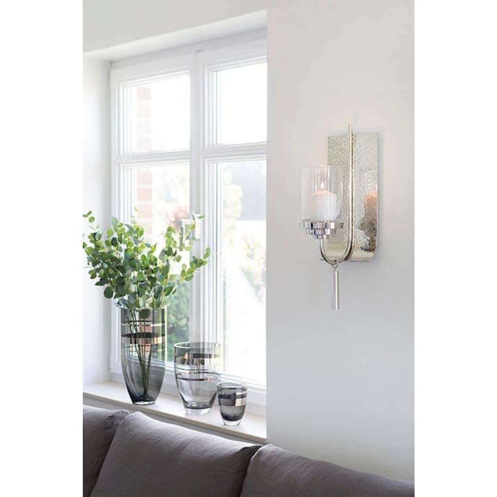 Fink Wandkerzenhalter »TALON, silberfarben«, Kerzen-Wandleuchter, Kerzenhalter, Kerzenleuchter hängend, Wanddeko, handgefertigt, aus Metall, inkl. Glaszylinder, Wohnzimmer
