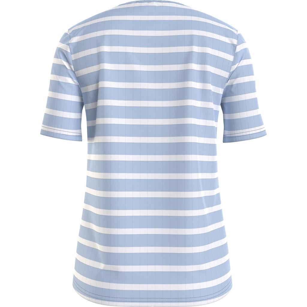 Tommy Hilfiger Rundhalsshirt »Regular Stripe C-Nk Top SS«, mit allover Ringle & Tommy Hilfiger Logo-Flag