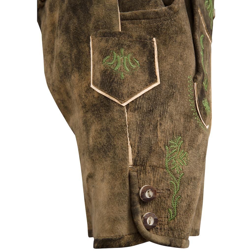Isar-Trachten Trachtenlederhose, mit traditioneller Stickerei