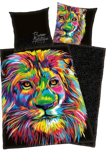 Wendebettwäsche »Löwe«, mit buntem Löwenkopf kaufen