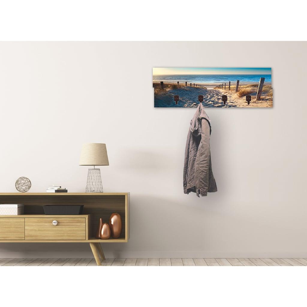 Artland Garderobenpaneel »Weg zum Nordseestrand Sonnenuntergang«, platzsparende Wandgarderobe aus Holz mit 4 Haken, geeignet für kleinen, schmalen Flur, Flurgarderobe