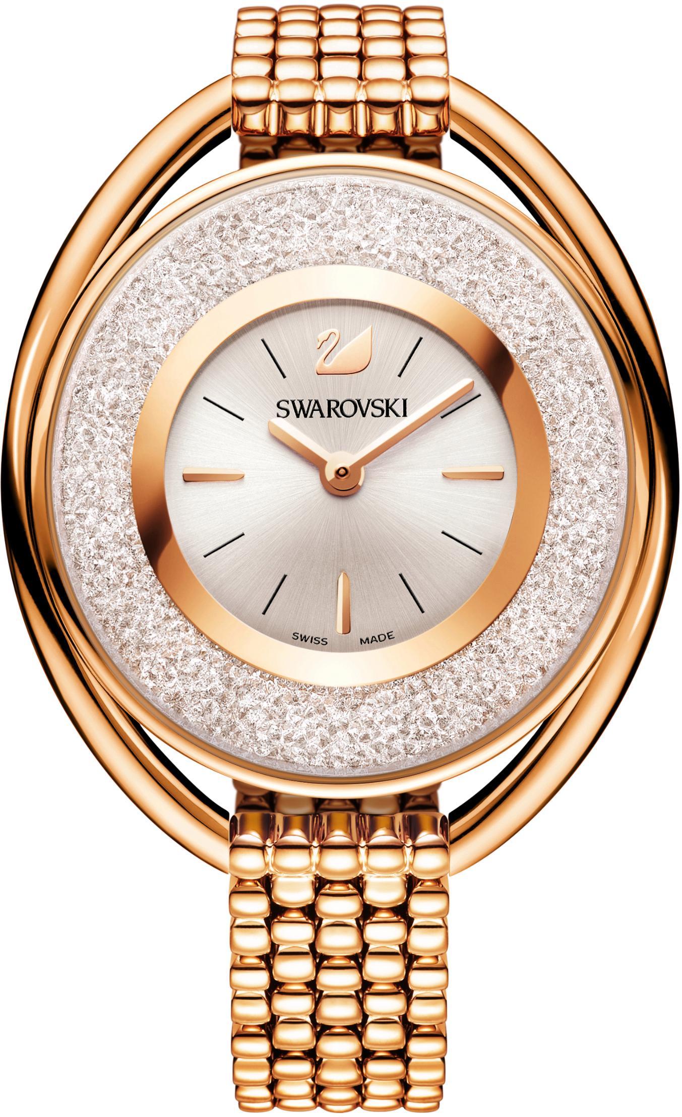 Swarovski Schweizer Uhr Crystalline Oval Uhr Metallarmband weiss roséfarben 5200341 | Uhren > Schweizer Uhren | Swarovski