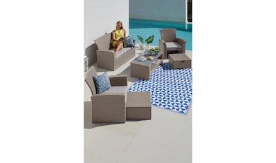 KONIFERA Loungeset »Salerno«, 9 - tlg., 2er - Sofa, 2 Sessel, 2 Fußhocker, Tisch, Polyrattan kaufen