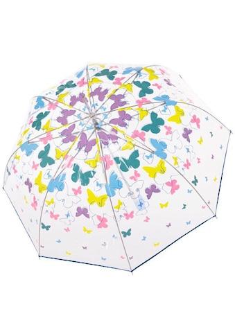 doppler® Stockregenschirm »Fiber Lang Automatik, Transparent Schmetterlinge« kaufen