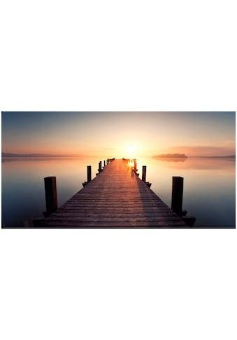 Art & Pleasure Holzbild »Sunset jetty«, Sonnenuntergang kaufen