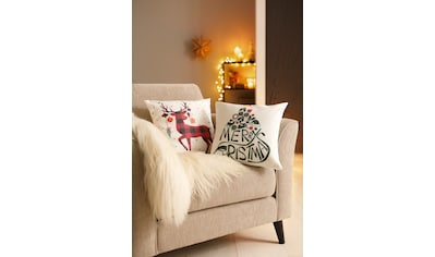 my home Kissenhüllen »Christmas«, (2 St., 2x 40x40 cm), mit hübschen Rentier kaufen