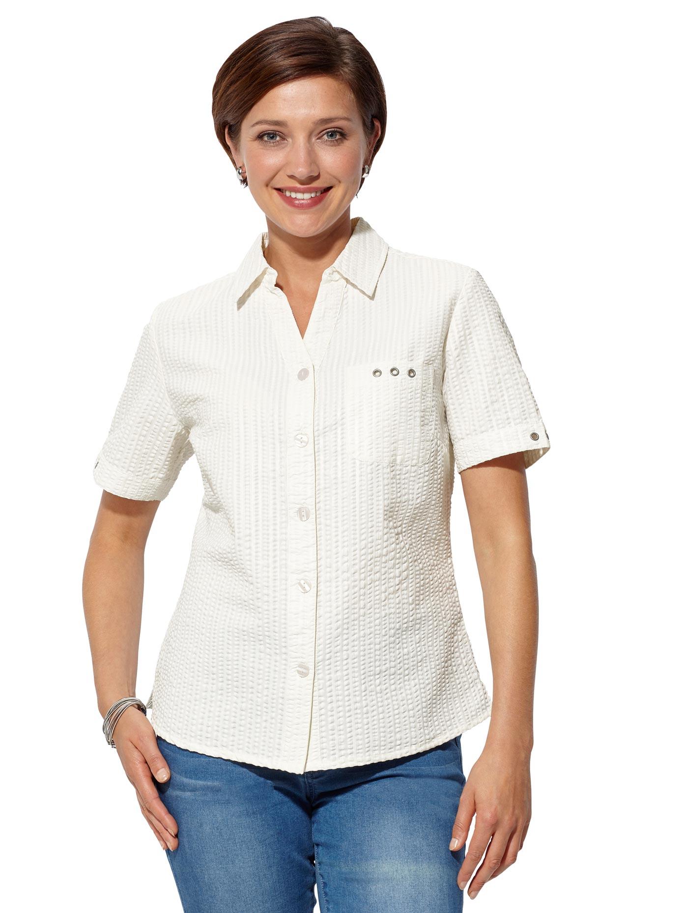 Classic Basics Bluse in pflegeleichter Seersucker-Qualität