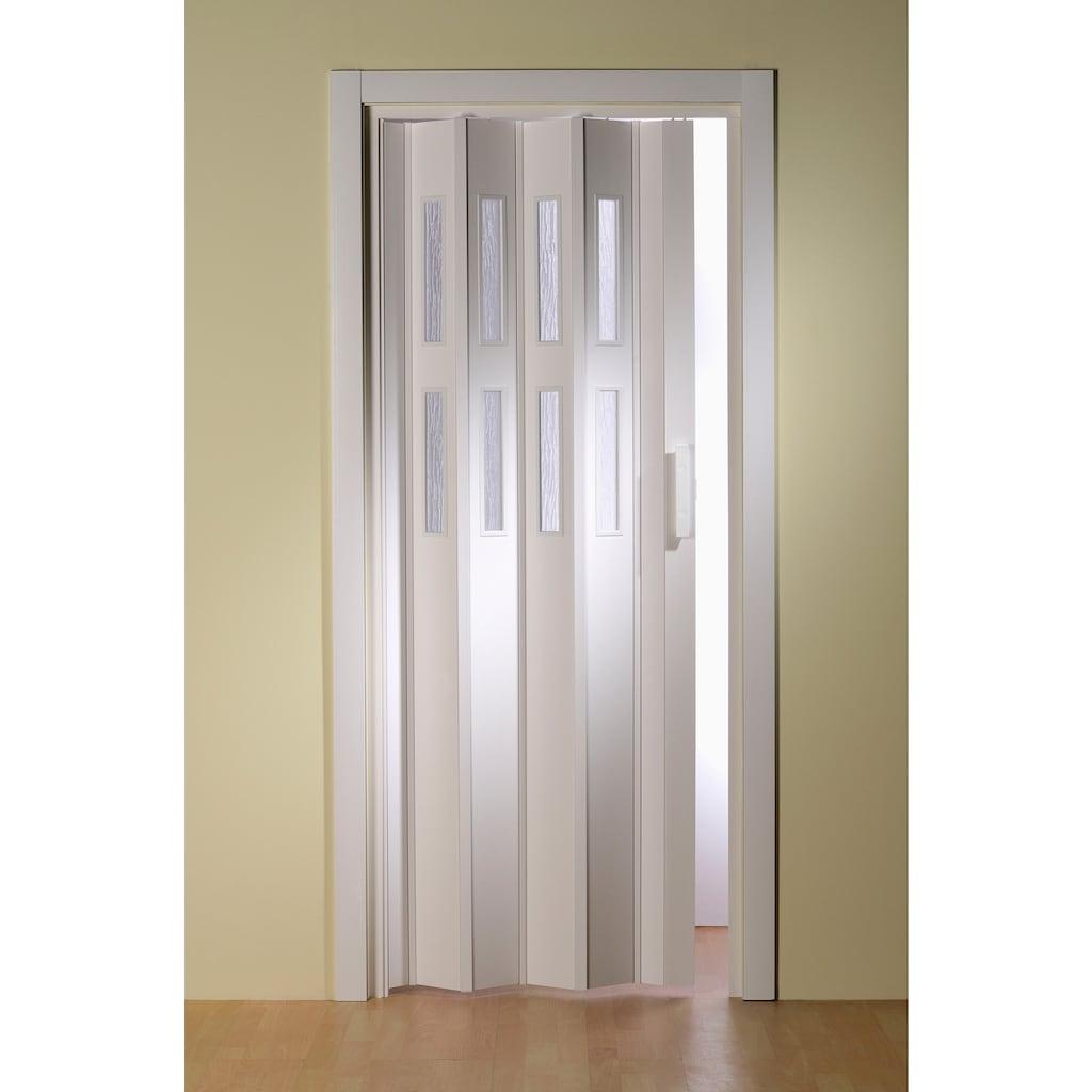 Kunststoff-Falttür »Luciana«, Weiß mit Fenstern in Riffelstruktur