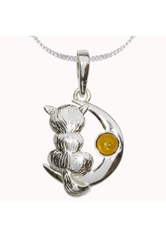 OSTSEE-SCHMUCK Kette mit Anhänger »- Katze und Mond - Silber 925/000 - Bernstein«, (2 tlg.) kaufen