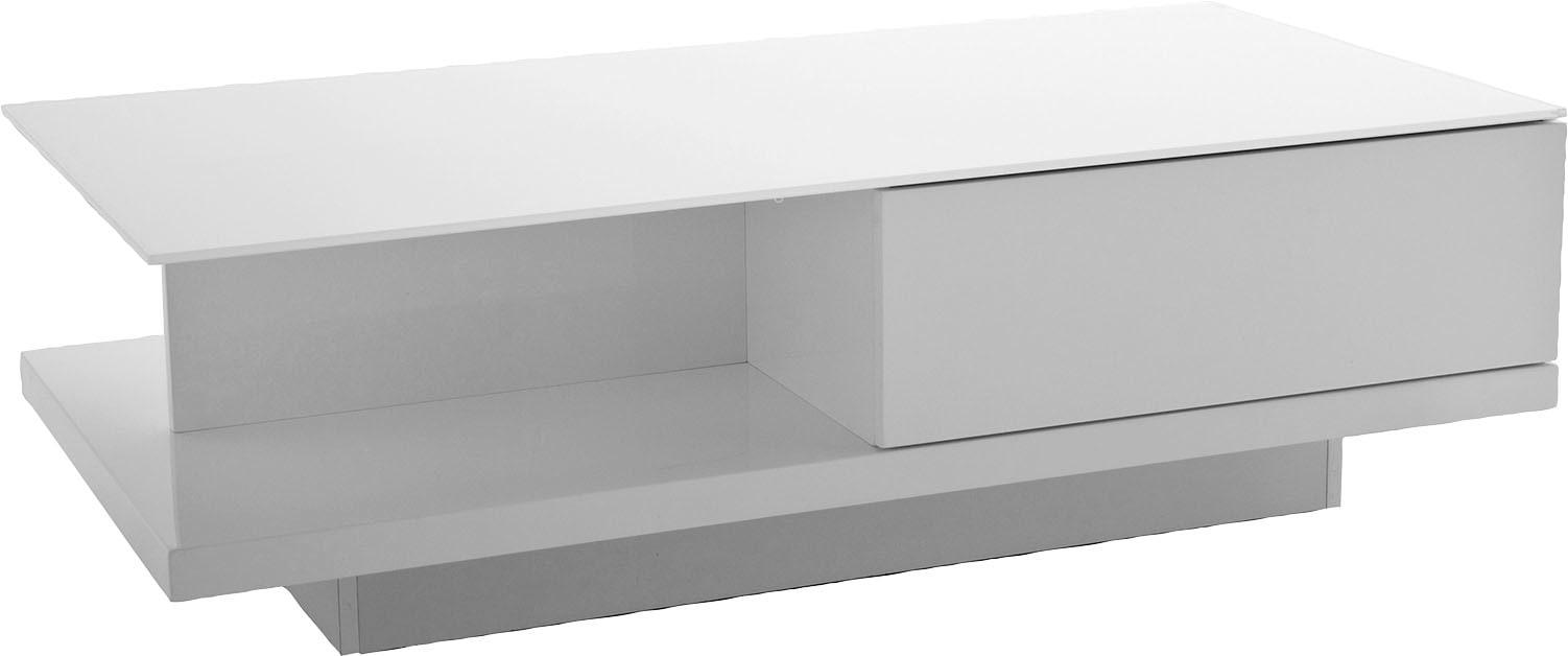 SalesFever Couchtisch, mit Tischplatte aus gehärtetem Kristallglas weiß Couchtische eckig Tische Couchtisch