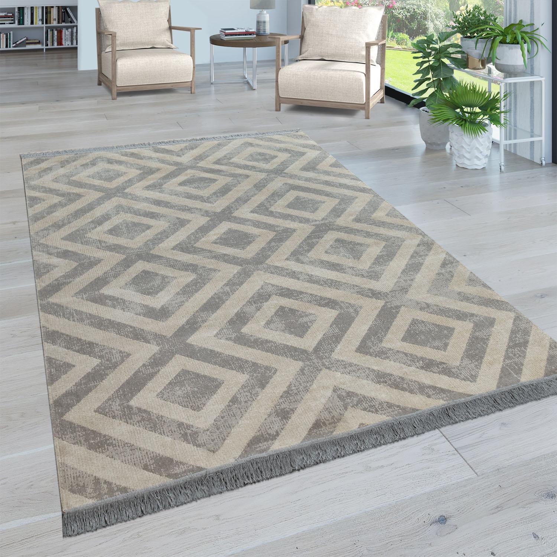 Paco Home Teppich Poco 821, rund, 2 mm Höhe, Wohnzimmer weiß Esszimmerteppiche Teppiche nach Räumen