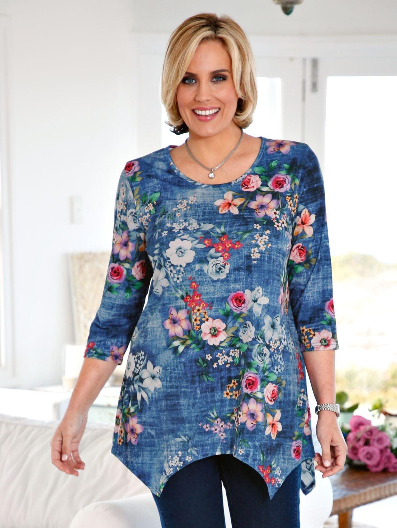 m collection Zipfelshirt rundum mit Blumenmuster | Bekleidung > Shirts > Zipfelshirts | Blau | M. Collection