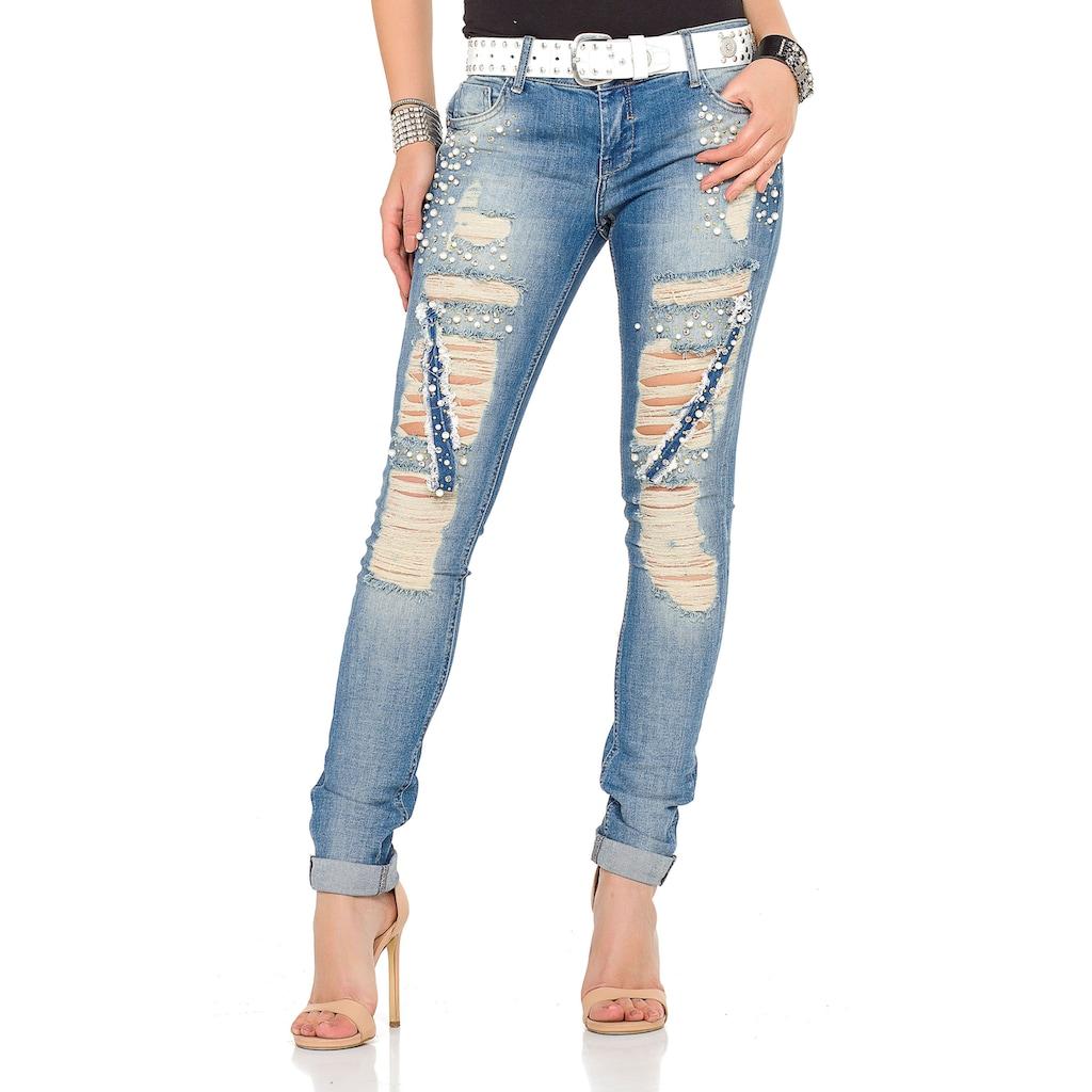 Cipo & Baxx Slim-fit-Jeans, mit coolen Used-Elementen