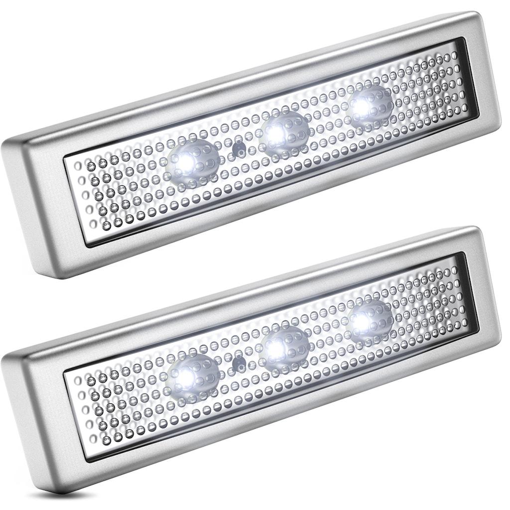 B.K.Licht LED Schrankinnenraumbeleuchtung, LED-Board, Kaltweiß, LED Schranklicht Unterbauleuchte Push ON/OFF batteriebetrieben selbstklebend 2er SET