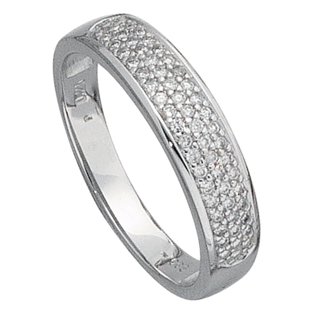 JOBO Diamantring, 585 Weißgold mit 50 Diamanten