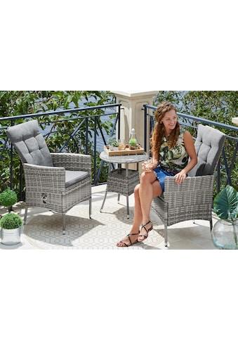 KONIFERA Gartenmöbelset »Belluno«, 5 - tlg., 2 Sessel, Tisch Ø 50 cm, Polyrattan kaufen