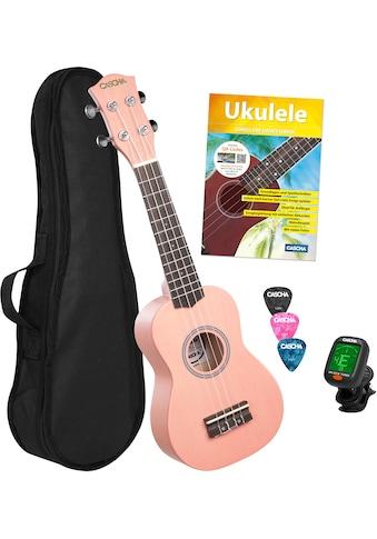 Cascha Ukulele »Sopran, Pink«, mit Tasche, Übungsheft, Plektren und Stimmgerät kaufen