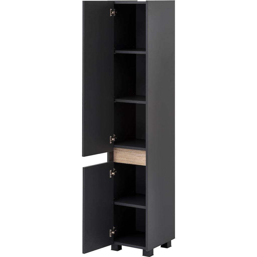 Schildmeyer Hochschrank »Cosmo«, Höhe 164,5 cm, Badezimmerschrank mit griffloser Optik, Blende im modernen Wildeiche-Look, wechselbarer Türanschlag