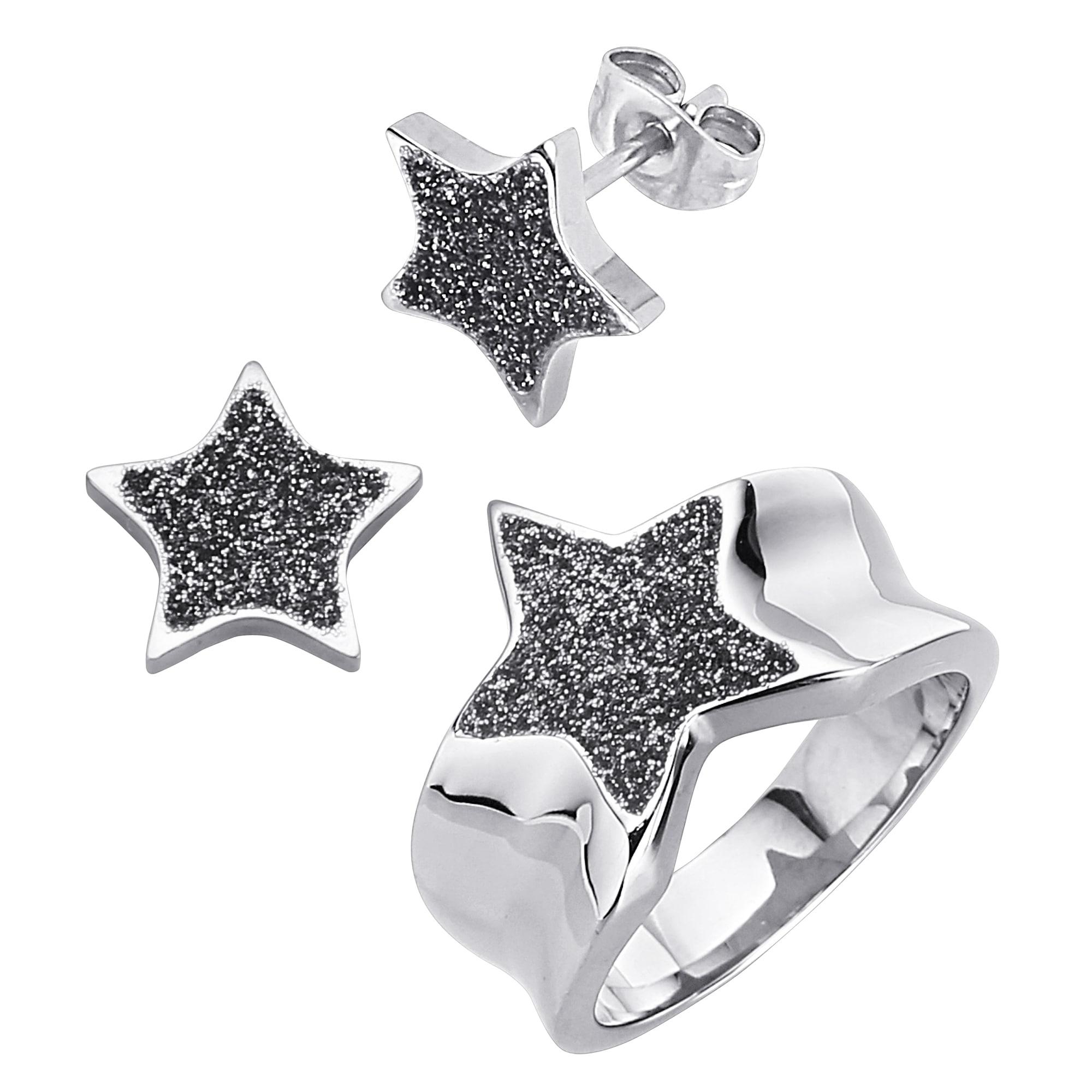 Jacques Lemans Set Ring Ohrstecker schwarz Damen Modeschmuck (nur Ohrringe) Ohrringe Schmuck