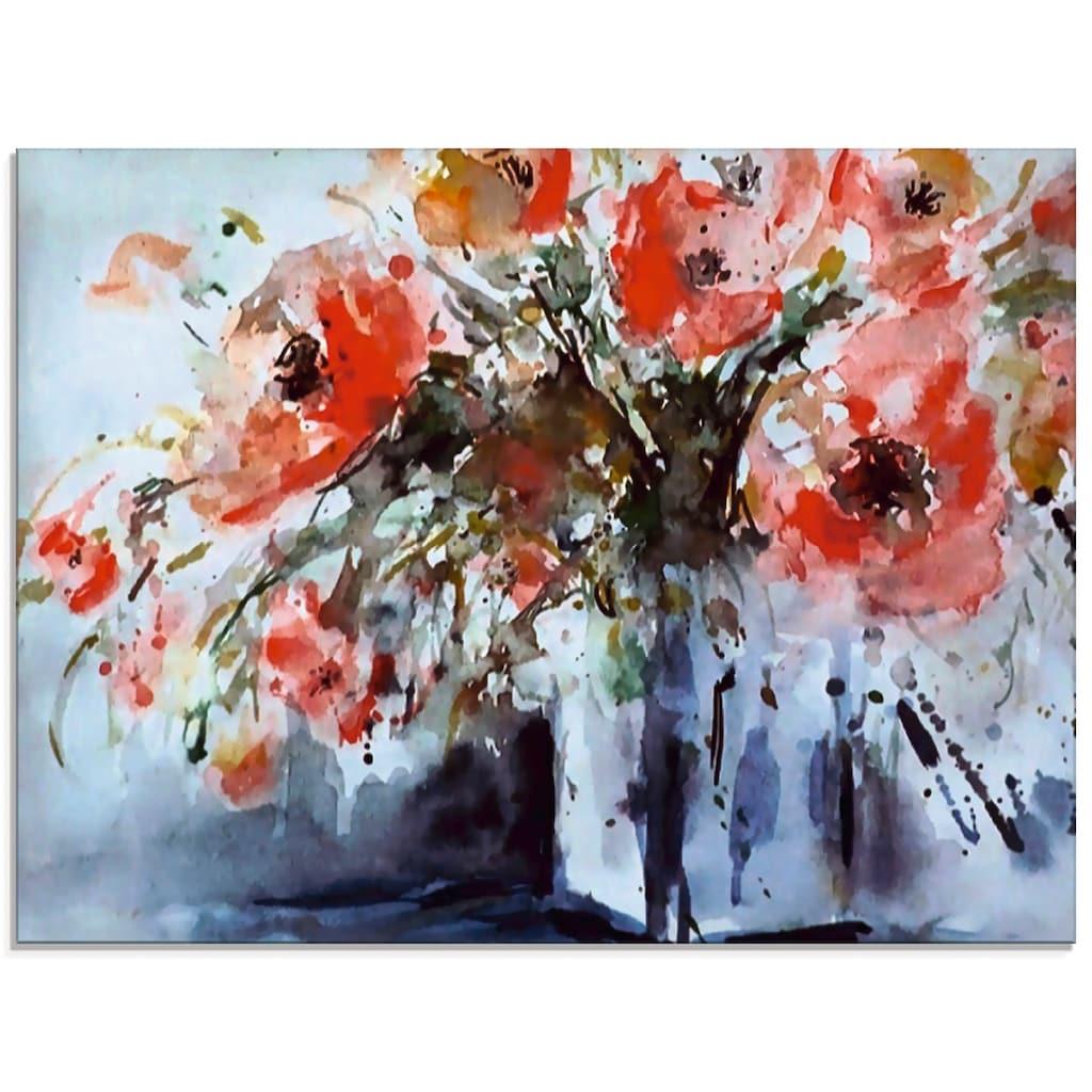 Artland Glasbild »Mohn in Vase«, Blumen, (1 St.)