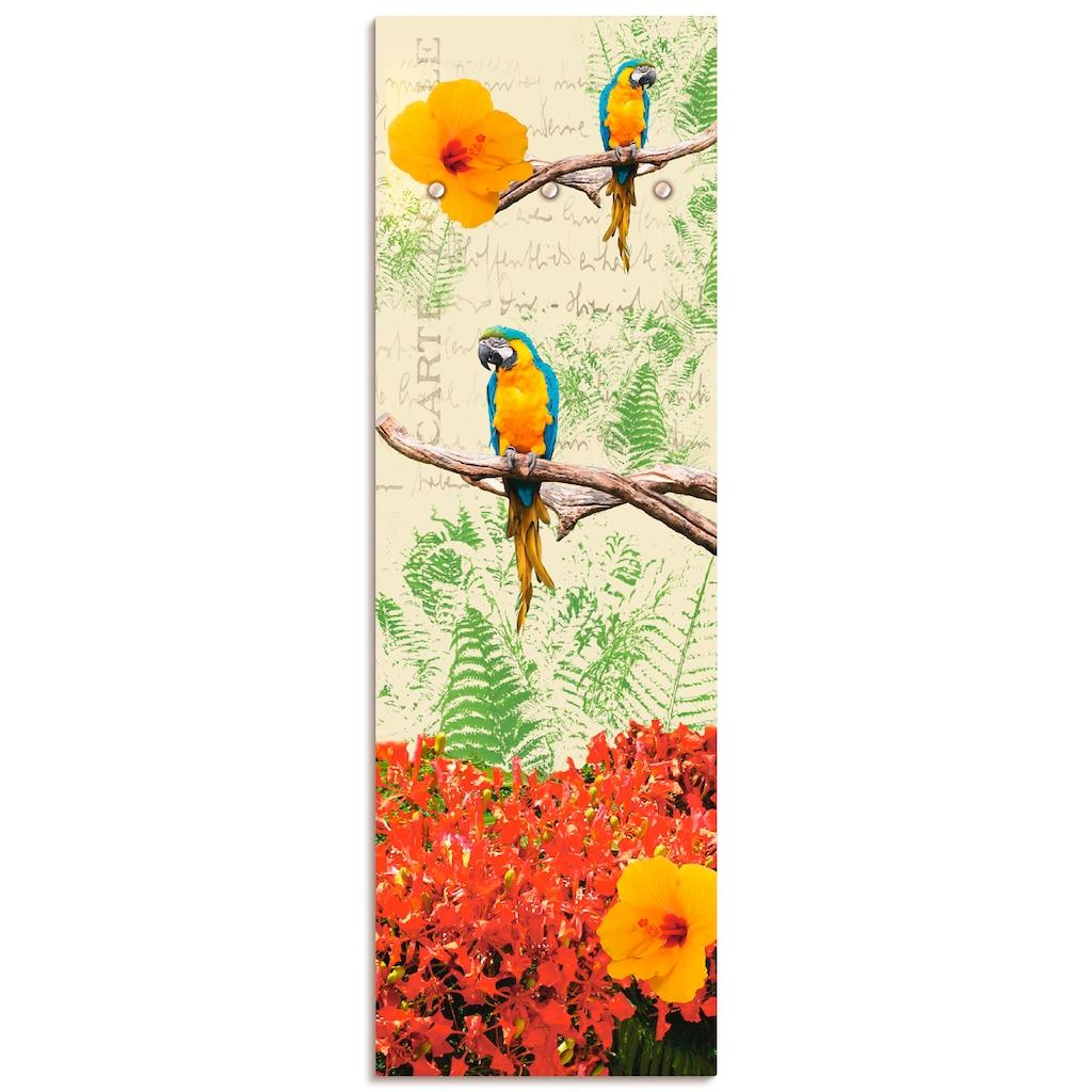 Artland Garderobe »Papagei«, platzsparende Wandgarderobe aus Holz mit 3 Haken, geeignet für kleinen, schmalen Flur, Flurgarderobe