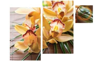 Conni Oberkircher´s Bild »Orange Orchids«, Orchidee, (Set), mit dekorativer Uhr kaufen
