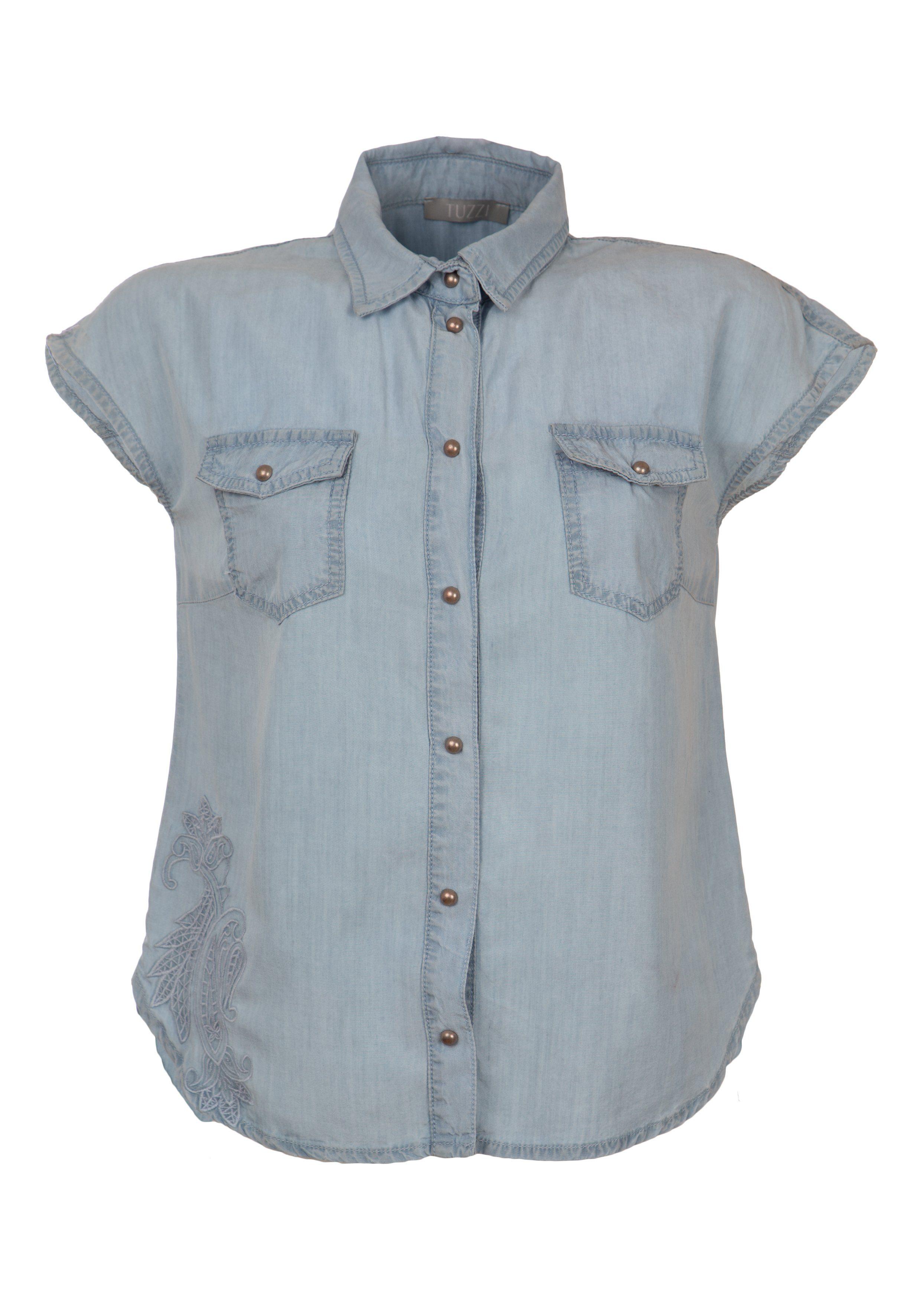 TUZZI Tencel-Bluse mit Stickerei