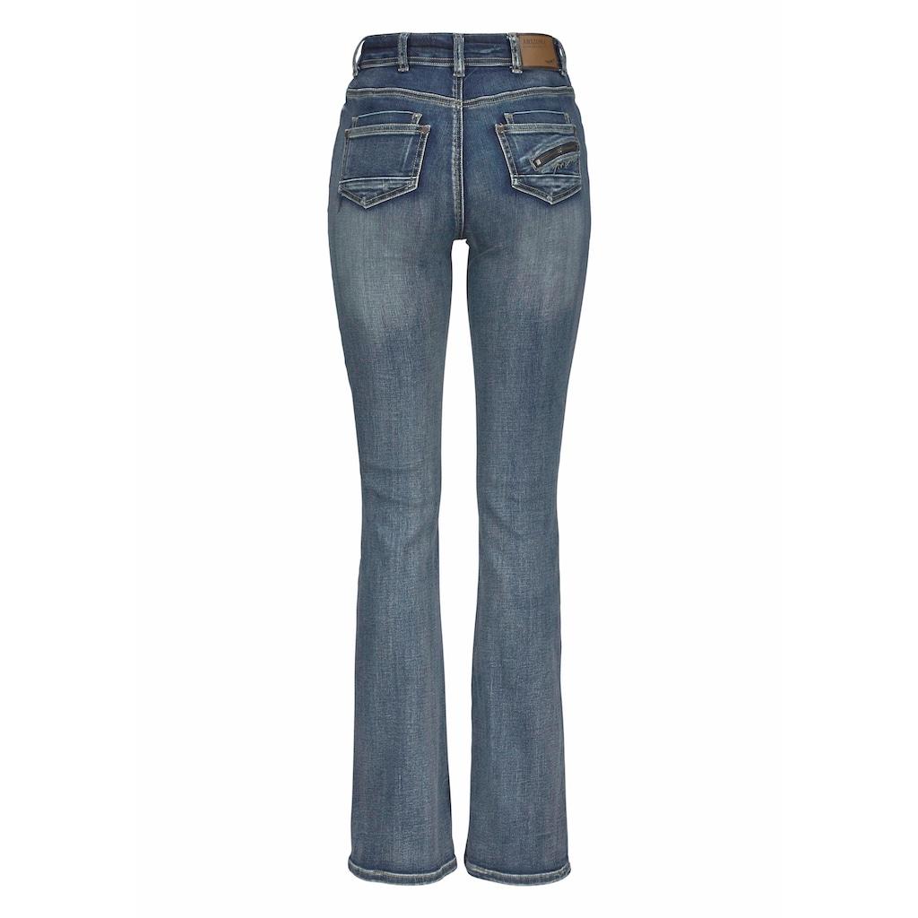 Arizona Bootcut-Jeans »mit Zippertasche«, High Waist