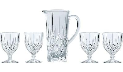 Nachtmann Gläser-Set »Noblesse«, (Set, 5 tlg., Fassungsvermögen: Krug 1190ml, Kelchglas 350ml-Höhe: Krug 23,2cm, Kelchglas 14cm-Durchmesser: Krug 12,6cm, Kelchglas 9cm), Kristallglas kaufen
