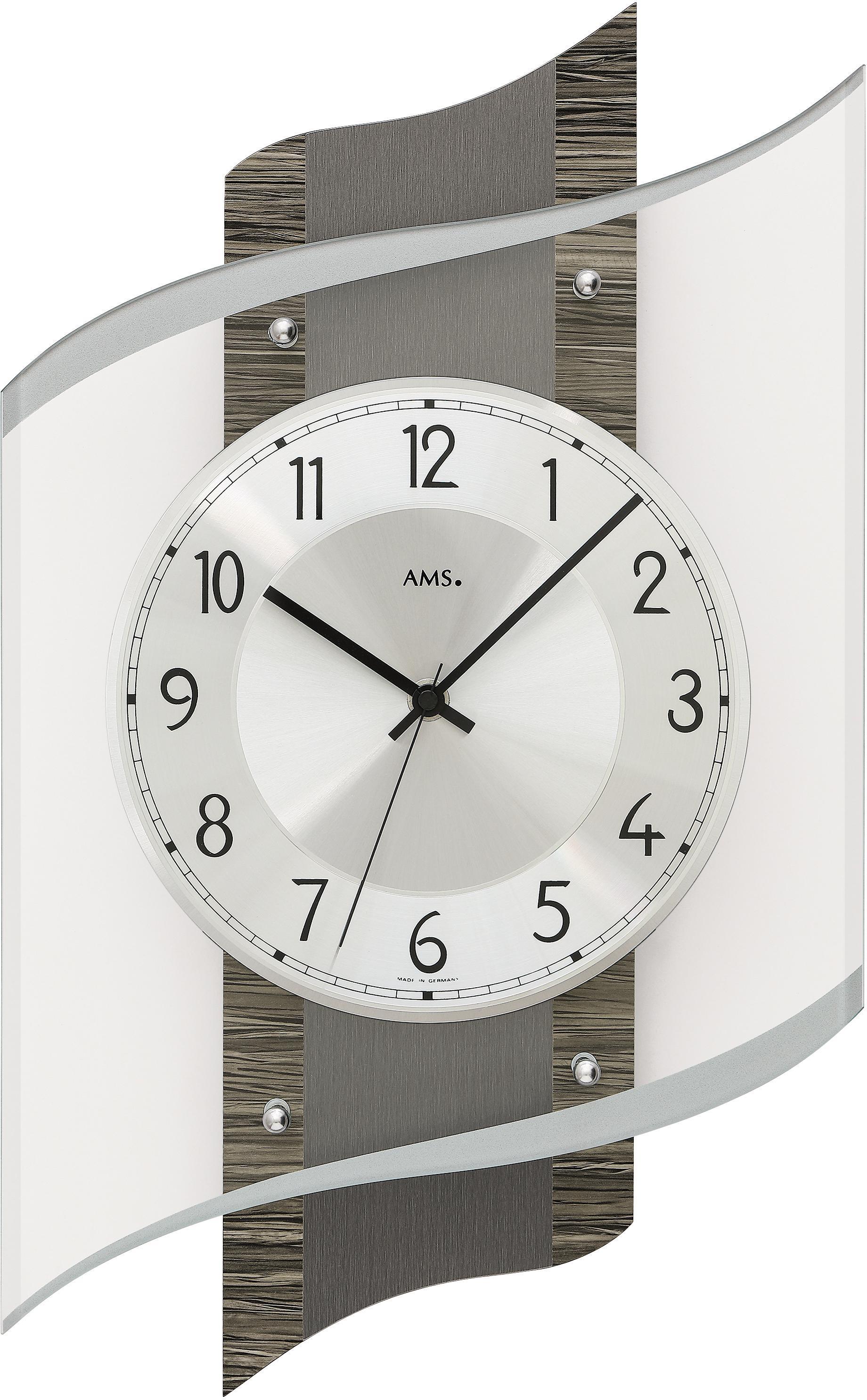 AMS Funkwanduhr F5519 | Dekoration > Uhren > Wanduhren | Grau | Ams