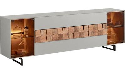LEONARDO Lowboard »LIV«, Massivholzkacheln enthalten, Breite 210 cm, wahlweise mit Mattglas in blau oder grau kaufen