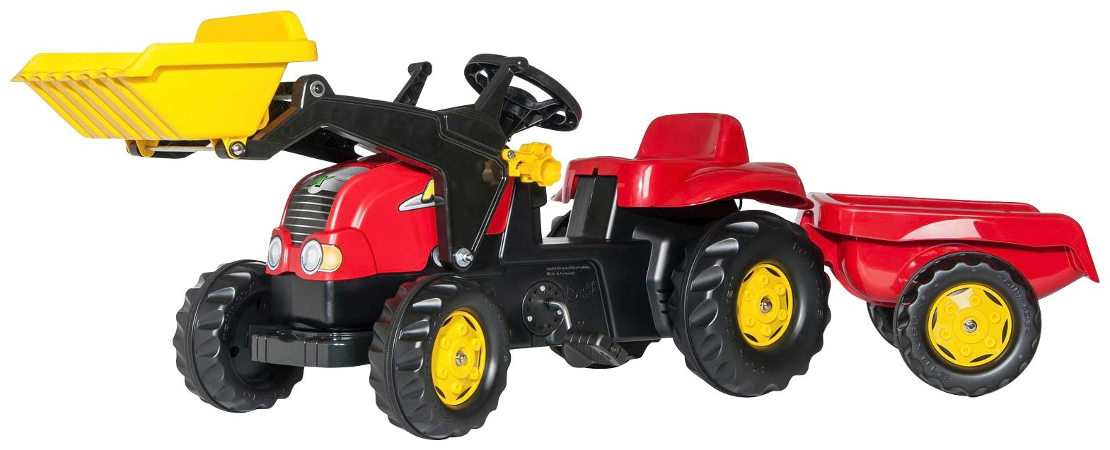 Tretfahrzeug, Traktor mit Trailer und Lader rot Kinder Kettcar Tretfahrzeug Kinderfahrzeuge Tretfahrzeuge