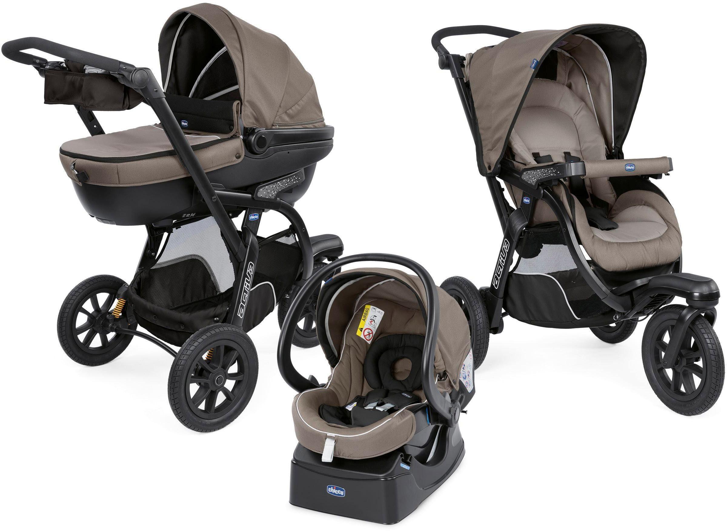 Chicco Kombi-Kinderwagen Trio-System Activ3 Top, Dark Beige, 15 kg, mit Regenschutz; Kinderwagen braun Kinder Kombikinderwagen Buggies