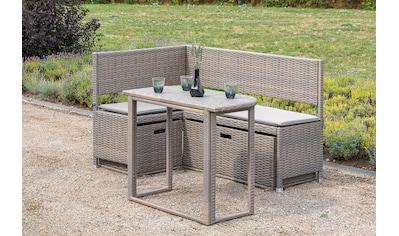 MERXX Gartenmöbelset »Balkon«, 4 - tlg., Eckbank, Tisch, 2x Unterschiebebox, inkl. Auflagen kaufen