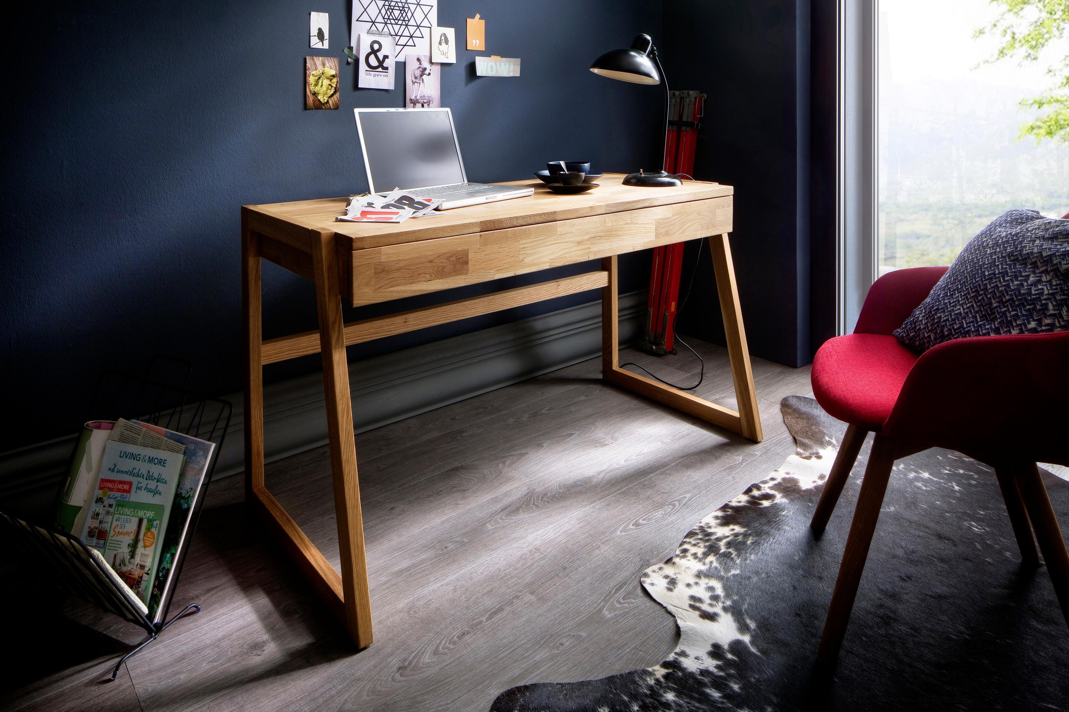 Home affaire Schreibtisch Dura aus Massivholz mit Soft-Close Funktion der Schubladen