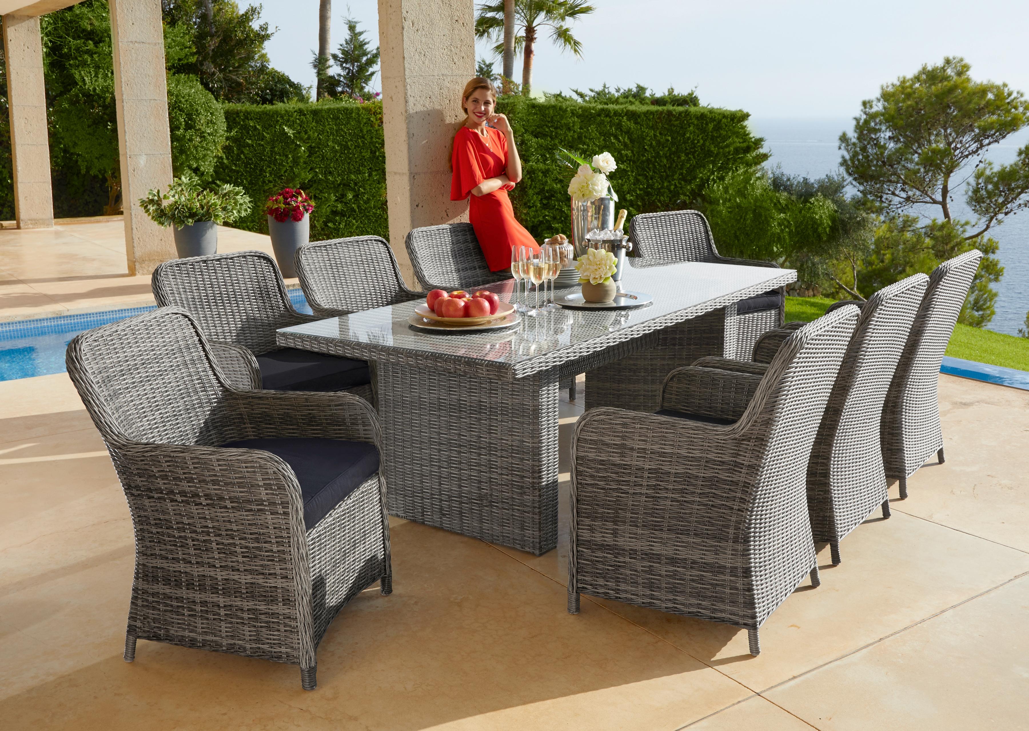 Konifera Gartenmöbelset Florenz 17 Tlg 8 Sessel Tisch 230x100