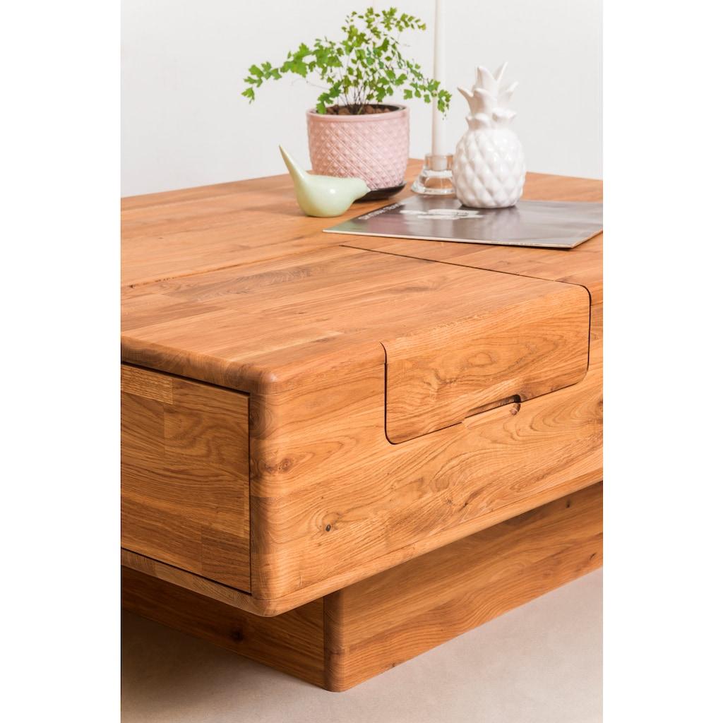 andas Couchtisch »Logan«, aus schönem massiven Eichenholz, mit verdeckten Nischen, Breite 110 cm