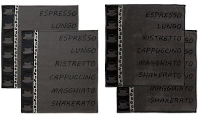 DDDDD Geschirrtuch »Ristretto«, (Set, 4 tlg.), Combiset: 2 Küchentücher & 2... kaufen