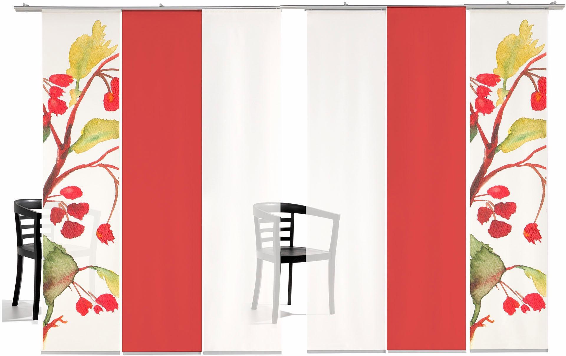 Schiebegardine emotion textiles Kirschblüten Farbig mit Klettband (6 Stück mit Zubehör)