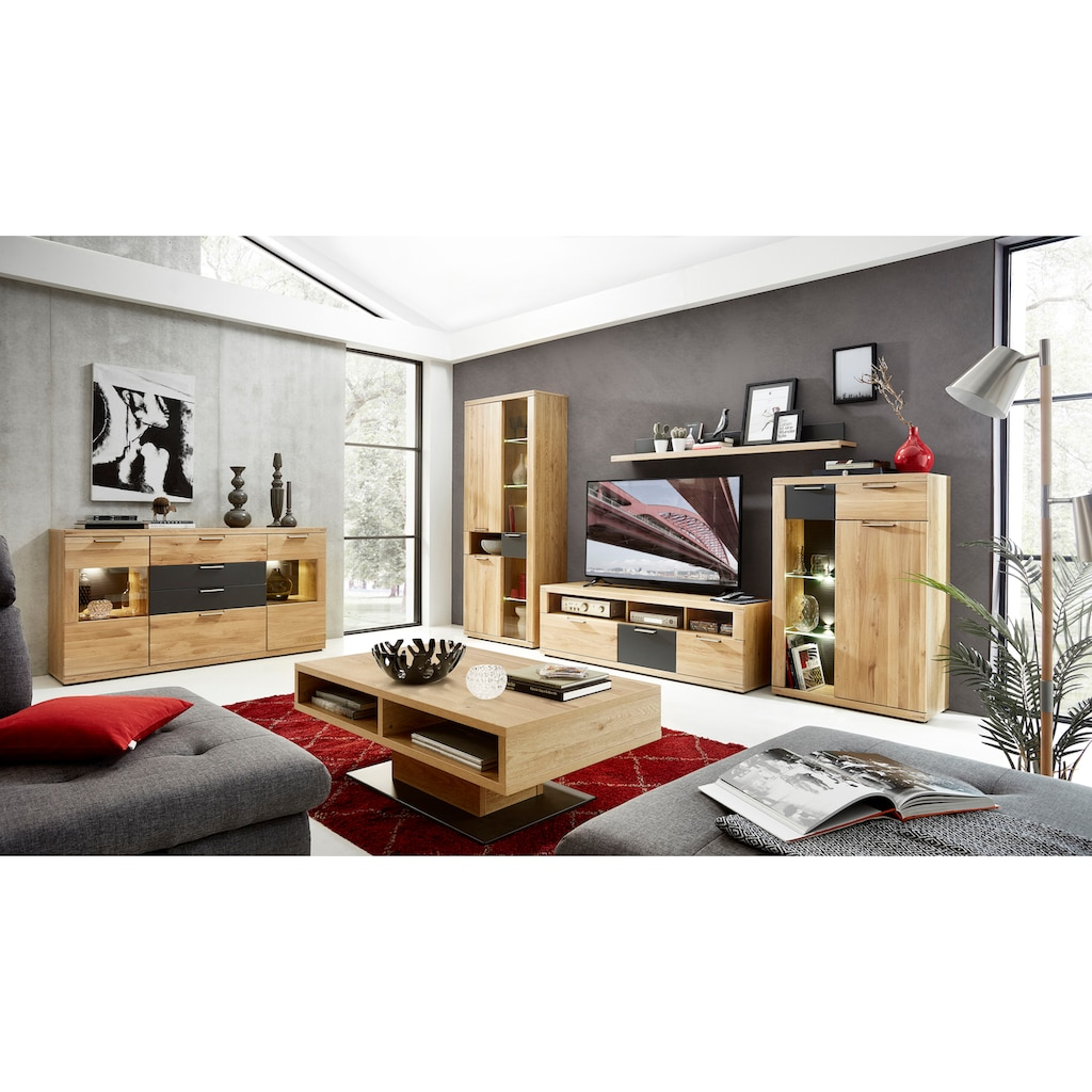 Innostyle Sideboard »Bianco«, 2 Glas-/Holztüren, 4 Schubkästen, inkl. LED-Beleuchtung