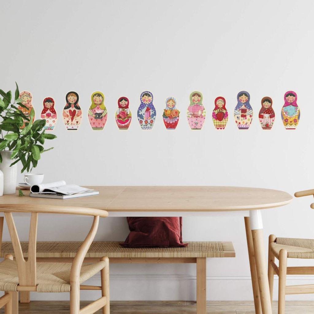 Wall-Art Wandtattoo »Matroschka Bunte Blumen Familie«