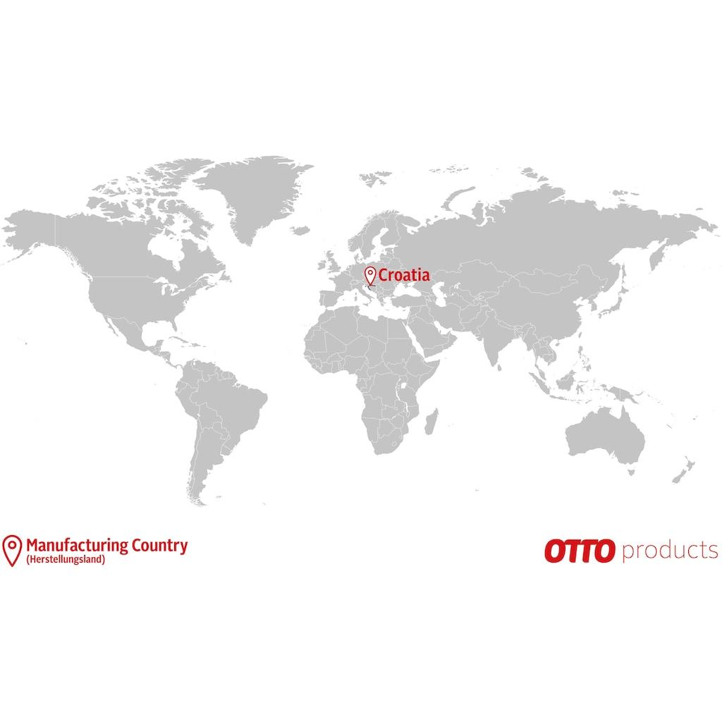OTTO products Couchtisch »Lennard«, aus massiver geölter Wildeiche, mit veganem und zertifizierten Bio-Öl behandelt, runde Tischplatte, mit Hairpin-Metallgestell