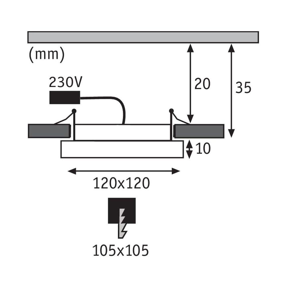Paulmann LED Einbaustrahler »Panel Areo IP23 eckig 120x120mm 8W 3.000K Weiß matt IP23 Deckenmontage«, Warmweiß