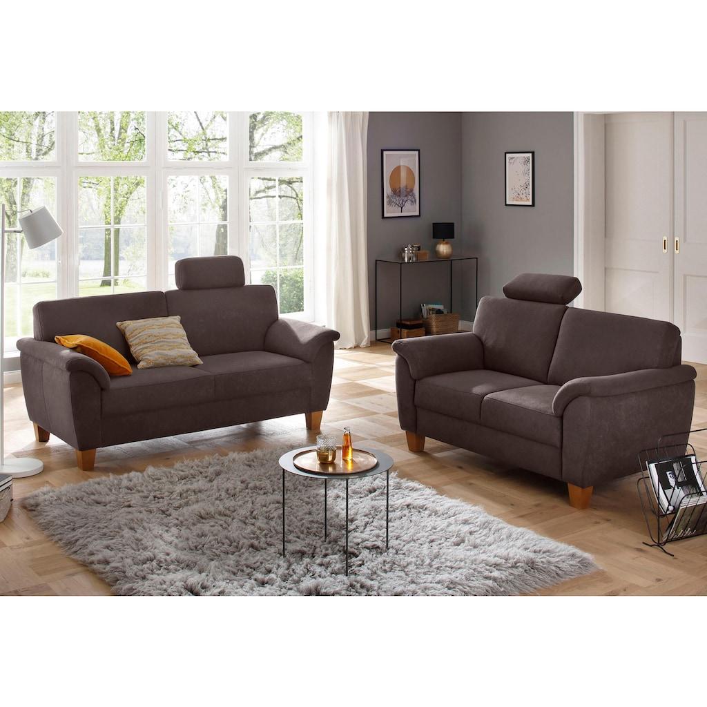 Home affaire 3-Sitzer »Alta«, mit Federkern und Kontrastnaht, Füße Buche eichefarben