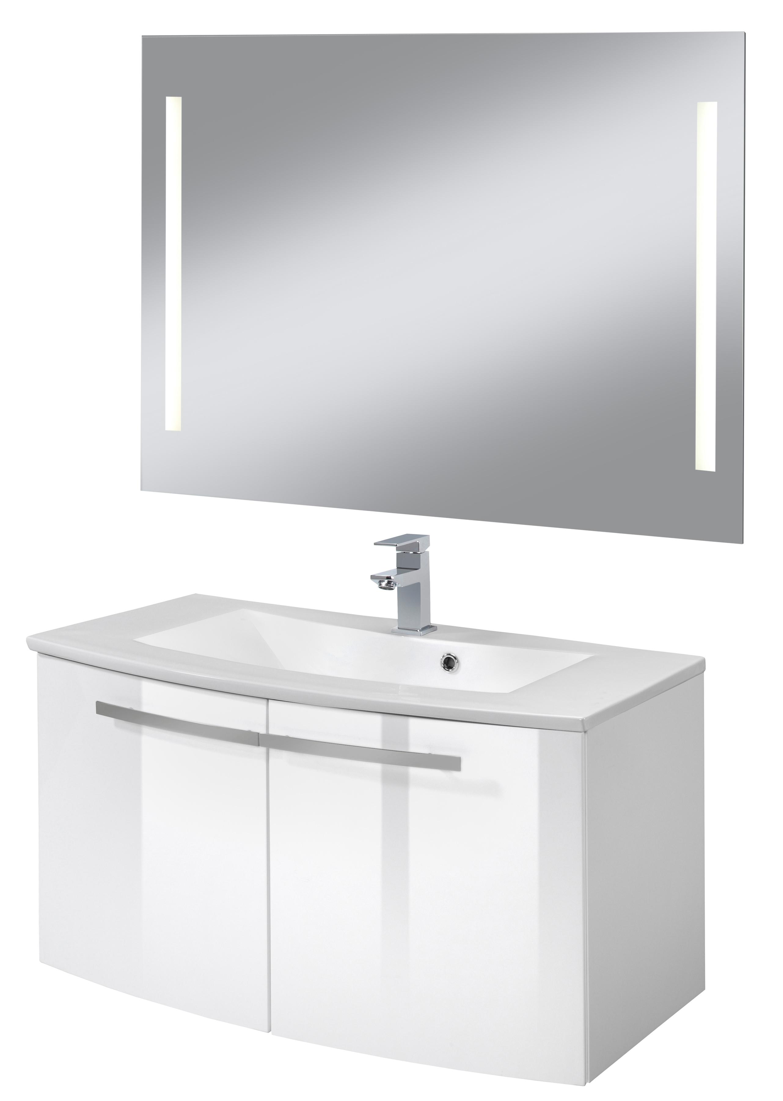 WELLTIME Badmöbel-Set Hörnum gerundete Front Breite 90 cm 3-tlg inkl LED Spiegel