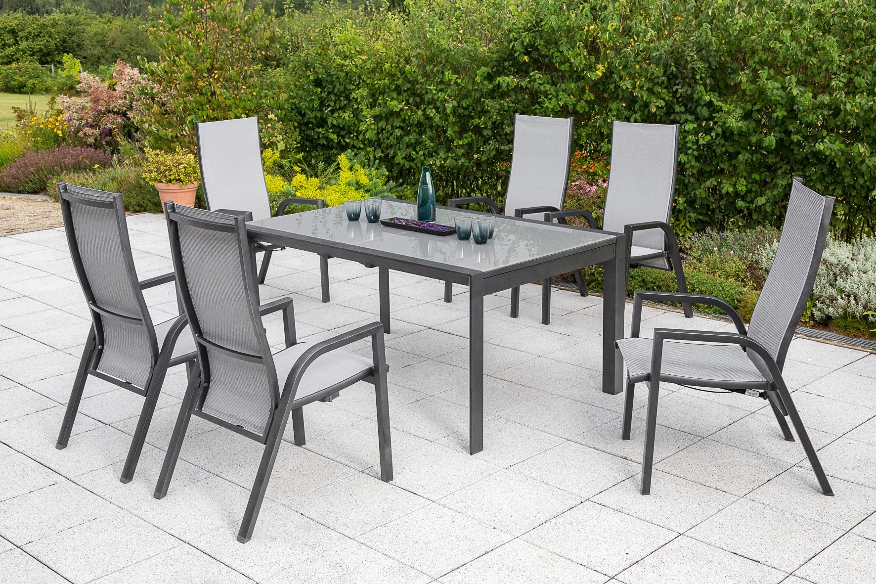 Merxx Gartenmöbelset San Remo 7 Tlg 6 Hochlehner Tisch 104x160