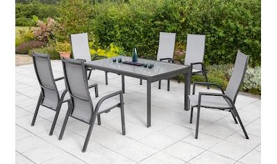 MERXX Gartenmöbelset »San Remo«, 7 - tlg., 6 Hochlehner, Tisch 104x160 - 220 cm, Alu/Textil kaufen