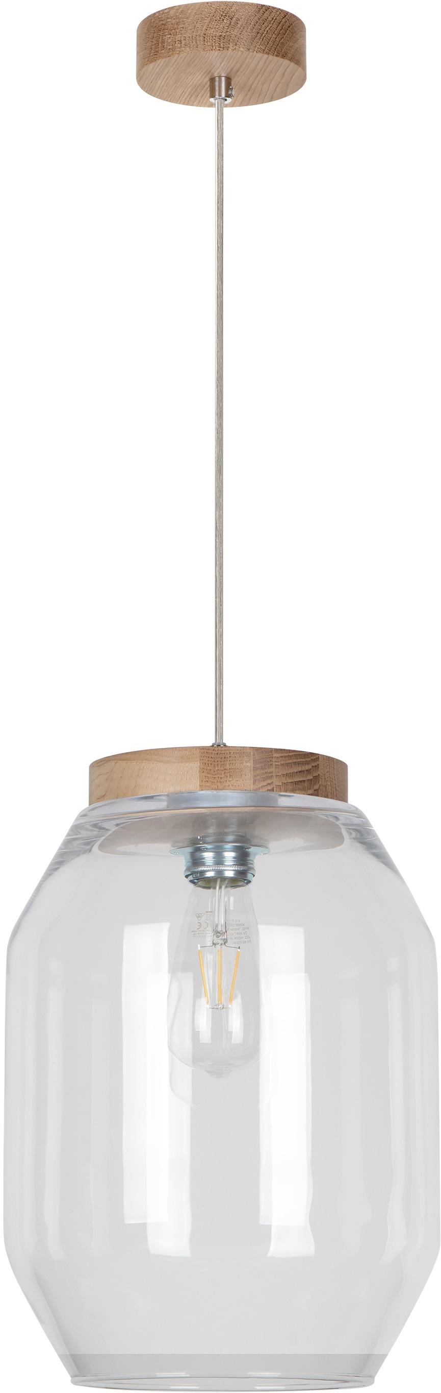 BRITOP LIGHTING Pendelleuchte VASO, E27, 1 St., Naturprodukt aus Eichenholz, Nachhaltig mit FSC-Zertifikat, Hochwertiger Glasschirm