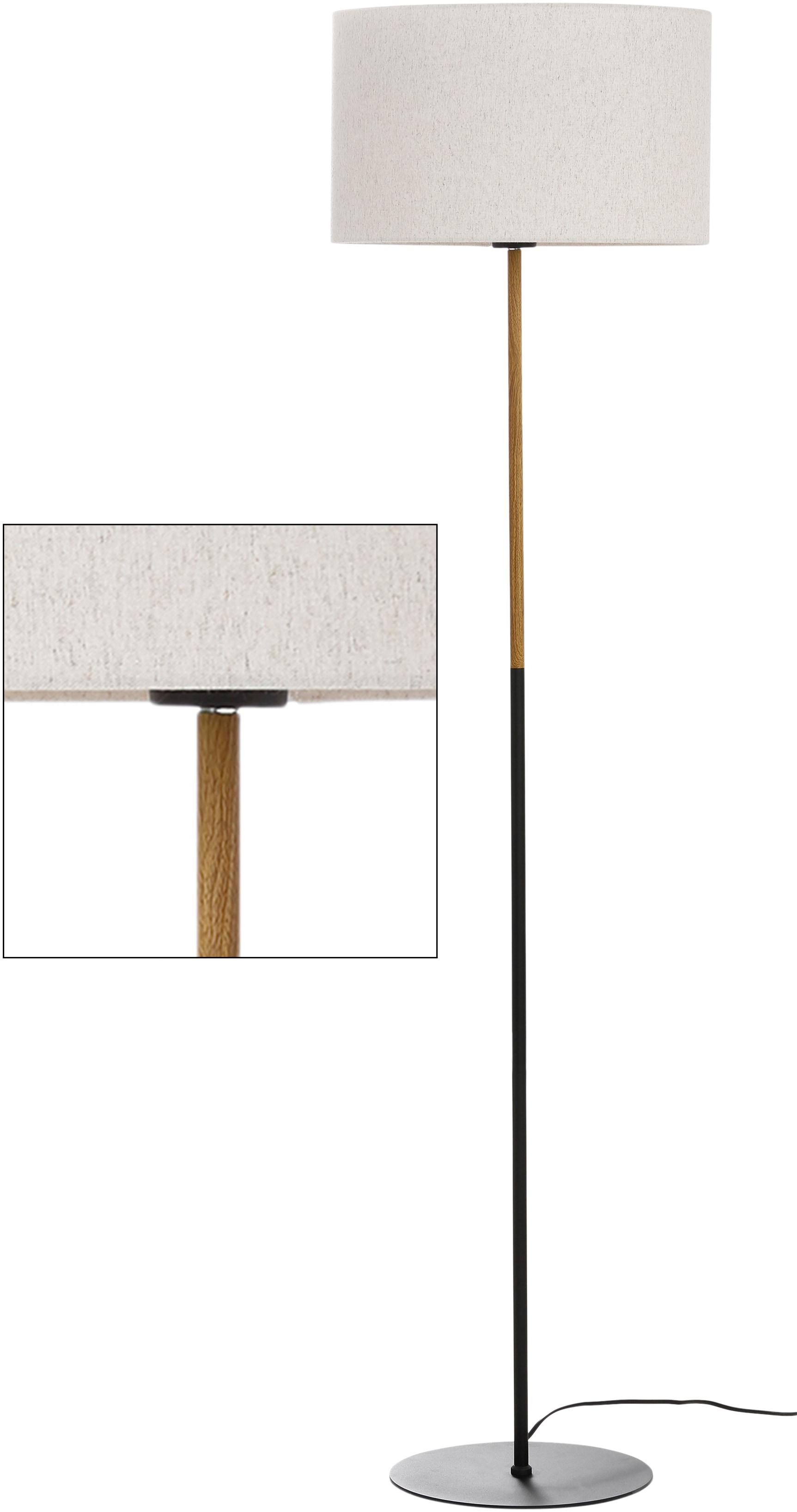 Home affaire Stehlampe San Marina, E27, 1 St., Stehleuchte mit zweifarbigem Fuß in schwarz / holzfarben und Leinenschirm / Stoff - Schirm beige Ø 45 cm, Höhe 153 cm