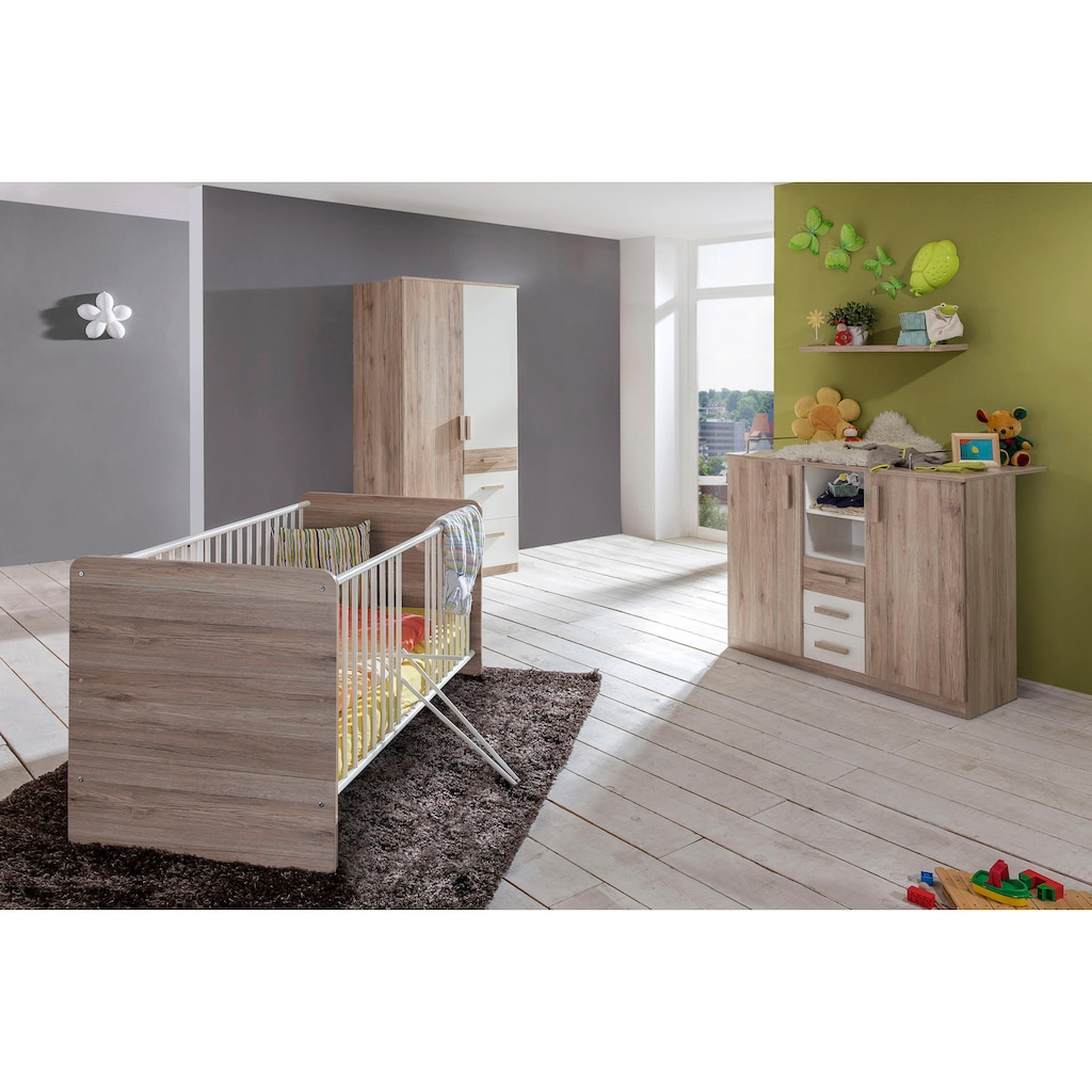 Babyzimmer-Komplettset »Bergamo«, (Set, 3 St.), Bett + Wickelkommode + 2 trg. Schrank